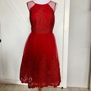 Red formal tulle dress